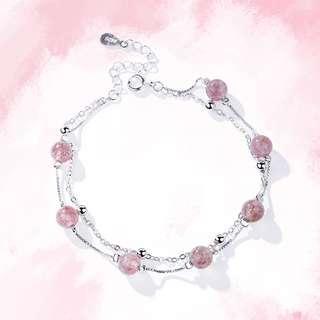 草莓晶及粉晶手鏈 – 925純銀系列【貨號:00234】