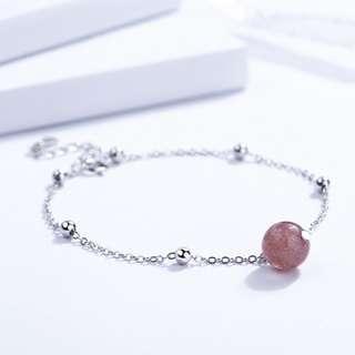 草莓晶及粉晶手鏈 – 925純銀系列【貨號:00237】