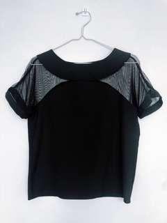 Sexy Everyday Black Blouse with Mesh Shoulder