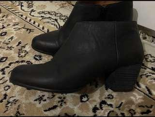 Black leather booties size 8-8.5
