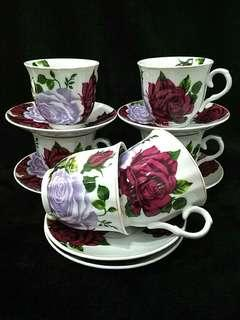 Set Cawan Bunga Ros 2-tone