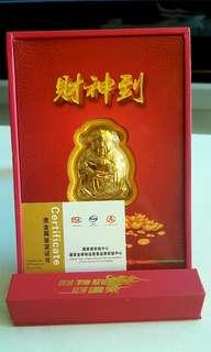Gold plated fortune god with certificate 财神爷