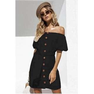Offshoulder Button Dress