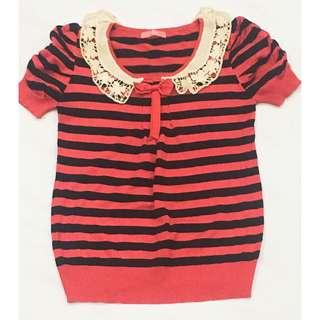 MISS KNIT Stripe Blouse