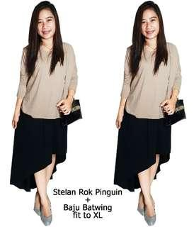 Setelan 50753 Stelan Rok Pinguin atasan batwing Big Size XL, Setelan bhn spandex, Allsize fit to XL, pj blouse 61cm, LD130cm, blouse model batwing, pj rok depan 51cm,pj rok belakang 93cm, rok model pinguin, Warna : coksu