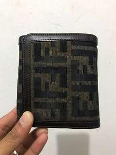 FENDI Tri-Fold Wallet Zucca Pattern Brown Leather