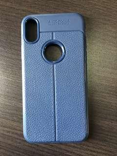 Case iPhone X Auto Focus Biru/Blue Leather