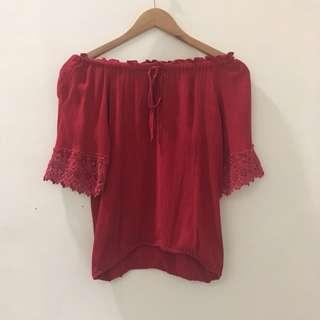 Red Off-shoulder blouse