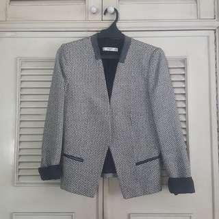 Mango black and white blazer
