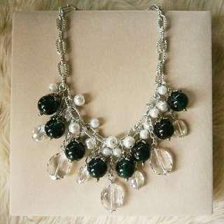 Green & White Bib Necklace