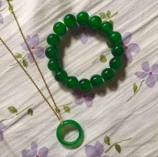 Jade Bracelet & Pendant Ring with Necklace