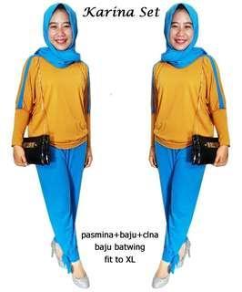Setelan 3in1 Karina Set 65244 Stelan Muslim Big Size XL blouse batwing+celana+pashmina