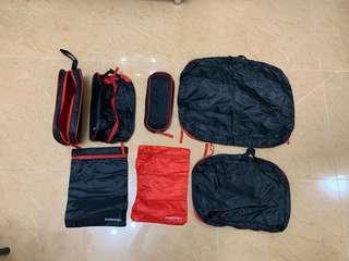 旅行收納袋 紅黑色7個