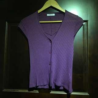 媽媽的衣物 古著 超好看 classy紫色不規則設計款 修飾蝴蝶袖 紫色短袖上衣