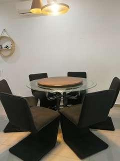 Round dinning table with moden 6 chair