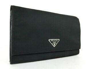 Authentic Prada Black Nylon / Leather Bifold Long Wallet
