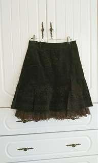 🚚 二手chaber巧柏38號咖啡色刺繡裙