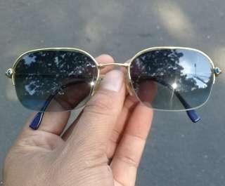Boucheron Sunglasses France Blue Sapphire Gold Luxury AUTHENTIC Half Rim