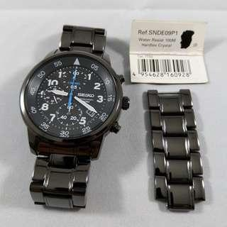 Discontinued Seiko SNDE09 SNDE09P SNDE09P1 PVD Black Ion Chronograph Watch