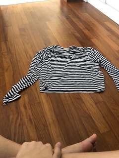 Blue white stripe cotton on long sleeve