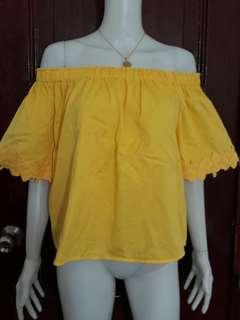 Forever 21 yellow off shoulder top