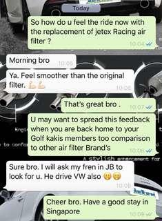 🚚 #jetexfilters_vw. #jetexfiltersasialink. Vw Golf Mk7 1.4tsi Malaysian customer across the border and in the house to replace Jetex Racing Performance drop in air filter with 1.14 Kpa flow rate washable & reusable.