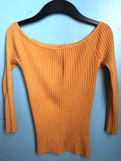 Mustard Off Shouler Knit Top