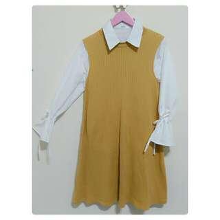 UNIQLO 羅紋棉質寬擺洋裝 芥黃 純棉 背心裙