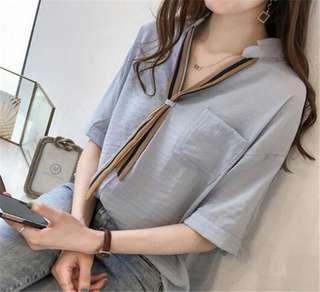 🚚 YF80428 大碼百搭半袖襯衣(2色)