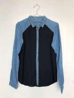 Chambray and Sheer Navy Button Down Top with Studs