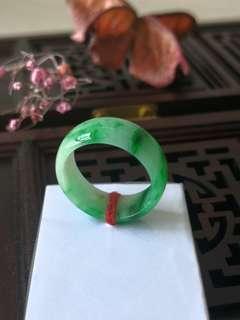 Burmese Type A Icy Translucent Sunbright Green Jadeite Jade Ring