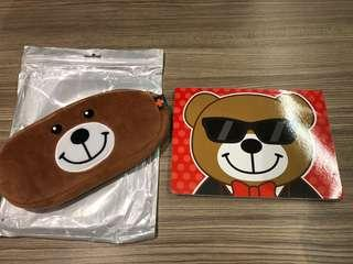 Pen case (bear) and notebook (new)