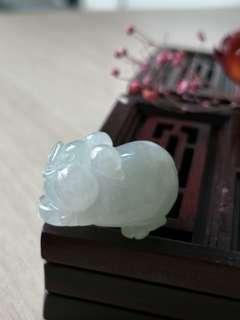 Burmese Type A Icy Translucent cutie pig jadeite jade pendant