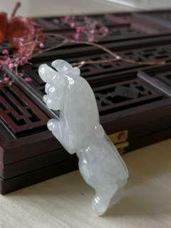 Burmese Type A Icy Translucent Taurus Jadeite Jade Pendant
