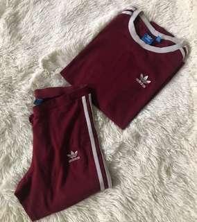 Adidas burgundy tracksuit *