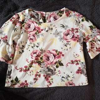 Floral Bell Sleeves Top