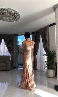 Rose gold backless split formal dress