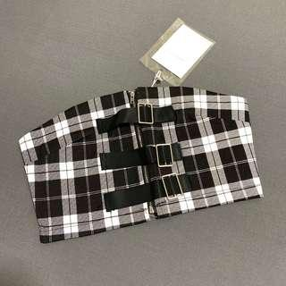 🚚 Checkered Buckle Bandeau Tube Top