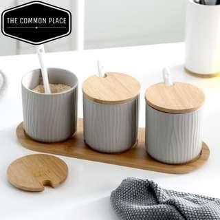 INSTOCK 3pc Grey Wooden Scandinavian Cooking Condiment Jar Kitchen Set