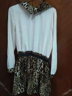 豹紋拼接雪紡洋裝