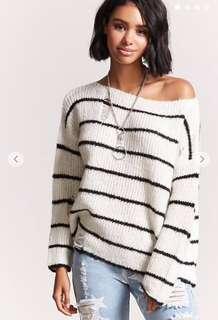 🚚 Distressed Stripe Knit Sweater