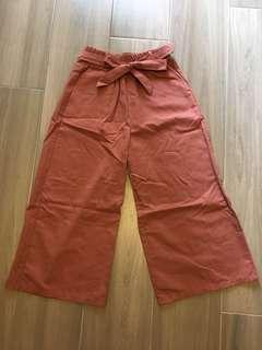豆沙色闊腳長褲