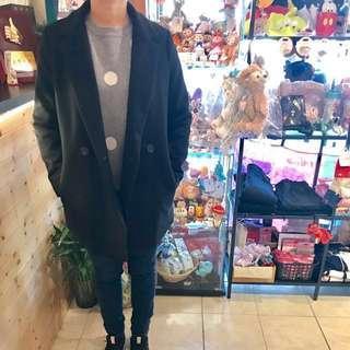 正韓西裝中長版黑色大衣外套