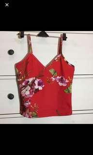 SALE!- red floral crop top