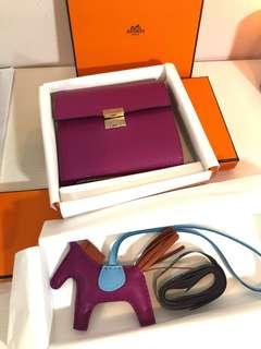 Hermes Clic Wallet + pm rodeo, both Rose Pourpre color