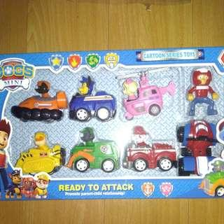 BRANDNEW 6pcs PAW PATROL in PULL BACK CARS with RYDER in MOTOR SET
