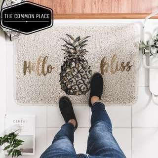 INSTOCK Pineapple PVC Door Floor Mat Rug 45x75cm Home Decor