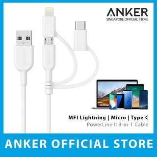 Anker Powerline II 3 in 1 USB Cable 3ft
