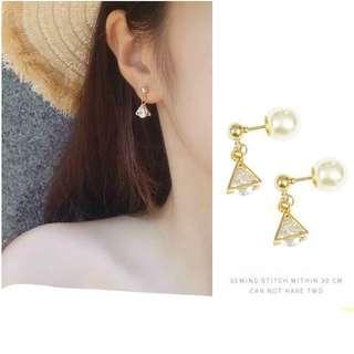 🚚 三角形鑽珍珠耳環
