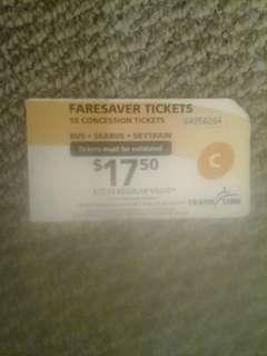 One book of 10 faresaver tickets concession tickets translink